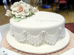 Stencilled lace on tulle